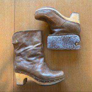 UGG Lynnea Burnished Leather Clog Boot size 7